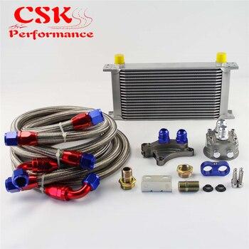 Juego de enfriador de aceite AN10 de 19 filas de 248mm compatible con Nissan Silvia S13 S14 S15 180SX 200SX 240SX SR20DET negro/plateado