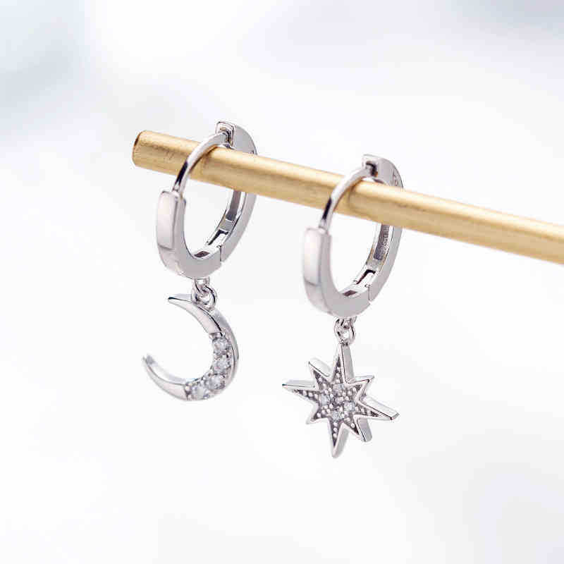 HTB1Vbh.UMHqK1RjSZJnq6zNLpXaQ - New Arrival Fashion Classic Geometric Women Dangle Earrings Asymmetric Earrings Of Star And Moon Female Korean Jewelry