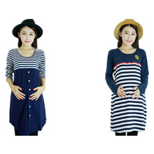Women Long Maternity Dresses for Pregnant Women Loose Clothing Maternity Fashion Stripe Home Cotton Mother Clothes Navy Blue