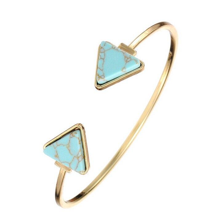 Fashion Bohemian Gold Color Blue White Geometric Triangle Stone Open Cuff Bangles Bracelets Faux Marble Stone pulseras India