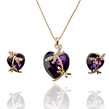 2014 New Jewelry Gift For Women Austrian Crystal 18k Gold Plated Dragonfly Pendant Necklace Earring Jewelry Sets