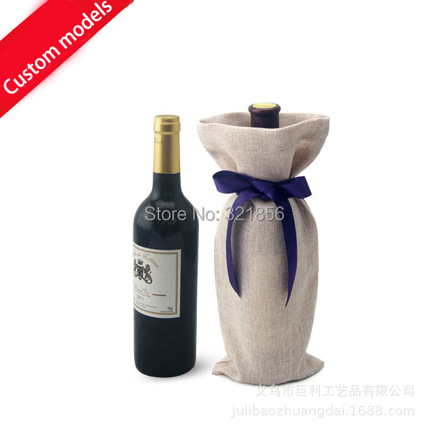 1000pcs Lot The Jute Wine Bottle Bags Champagne Wrap Wedding Party Gift Bag Ng