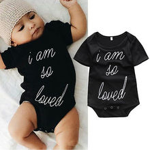 Baby Girl Cotton Bodysuit Infant Black Jumpsuit Baby Boy Letter Clothes Toddler Outfits