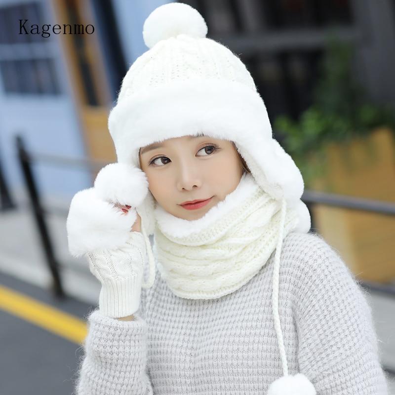 Kangemo Winter Warm Women Cap Scarf Gloves Thick Rabbit Fur Female Hat Knitting Fur Scarf Winter Outdoor Keep Warm Gloves