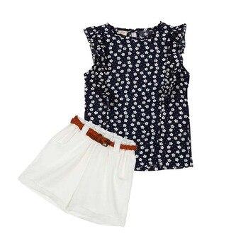 2017 Lovely  2PCS Set Kids Baby Girl Chiffon T-shirt Tops+Shorts Party Skirts Outfits conjuntos casuales para niñas