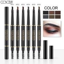 COSCELIA, 6 цветов, двухсторонний карандаш для бровей, стойкая краска для бровей, водостойкий, черный, коричневый, карандаш для бровей, макияж, набор
