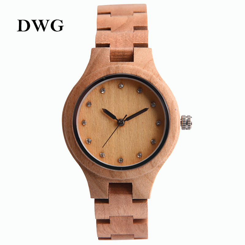 DWG Brand New Wooden Watch Japan Quartz Movement Rhinestone Lady Fashion Wrist Watches for Women Natural Solid Wood Strap Clock me