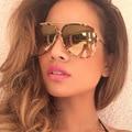 Vintage Metal Frame Gold Frog Mirror Sunglasses Fashion Oversized Womens Sunglasses Retro Shades Mens Sun Glasses Gafas sol