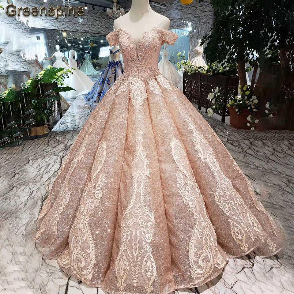 Greenspine Sparkly Rose Gold Wedding Dress 14 Hochzeit Kleider Princess  Wedding Gown Off the Shoulder Luxury Lace Bridal Dress