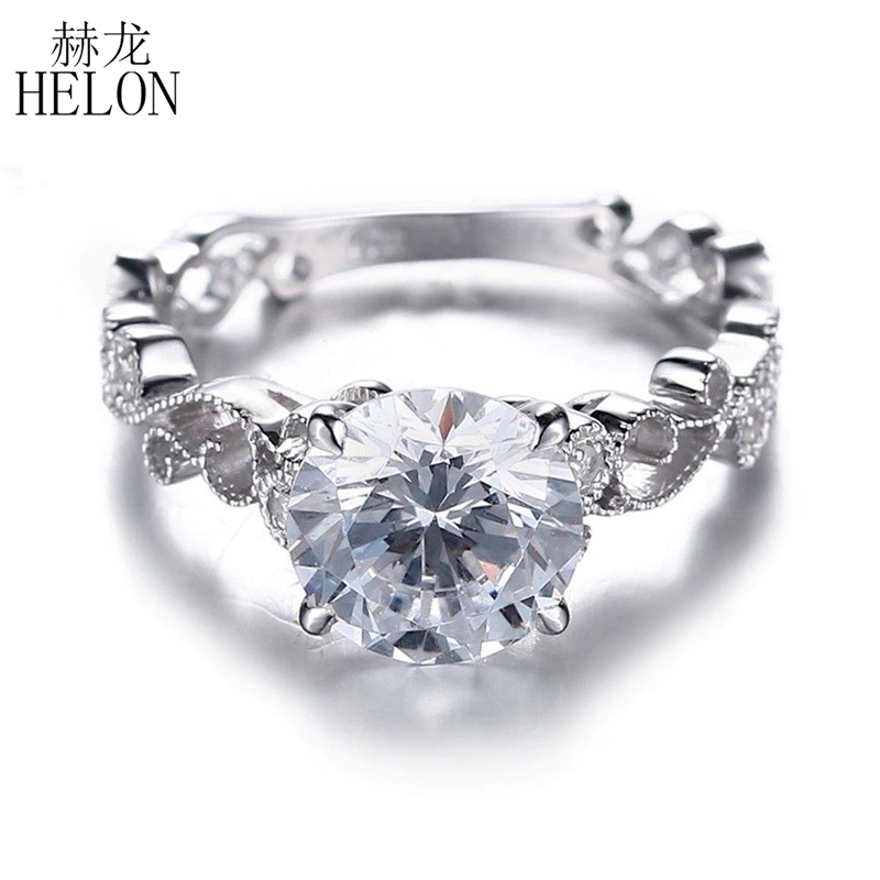 HELON 1.25CT Test Positive Lab Grown Moissanite Engagement Rings 10K Solid White Gold 0.06CT Diamonds Jewelry For Women Wedding helon solid 18k white gold 0 1ct f color lab grown moissanite diamond bracelet test positive for women trendy style fine jewelry