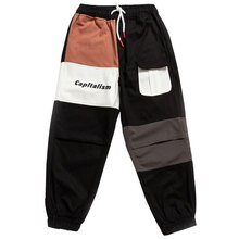 outdoor 2019 Spring autumn patchwork hip hop elastic waist teenagers cotton cargo pants men loose hiking climbing trousers