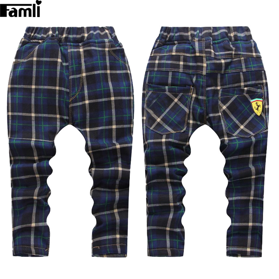 Famli Boys Winter Pants Baby Kids Straight Cotton Plaid Full Trousers Chidren Warm Thick Fur Leggings 2018 spring girls and boys fashion loose straight elastic waist plaid cotton pants kids children casual wholesale long trousers