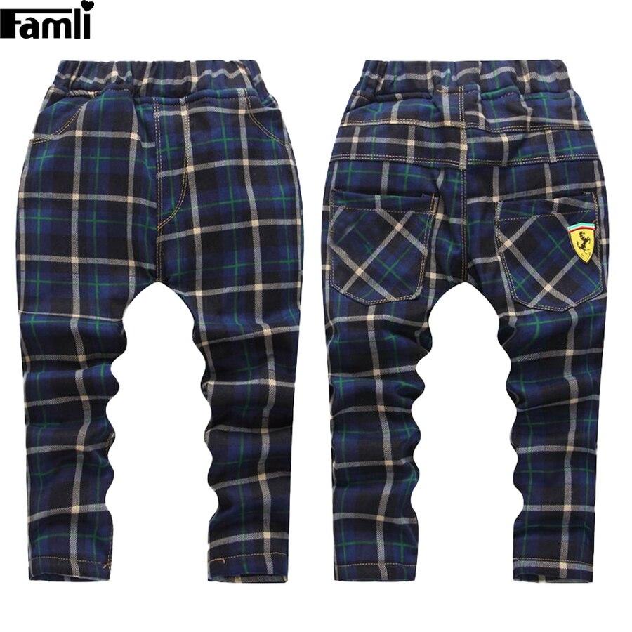 Famli Garçons Hiver Pantalon Bébé Enfants Droite En Coton À Carreaux Pleine Pantalon Chidren Chaud Épais De Fourrure Leggings