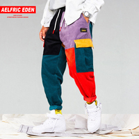 Aelfric Eden Для мужчин вельвет Лоскутные штаны карго с карманами 2018 шаровары, штаны для бега Harajuku пот Штаны хип-хоп уличные брюки UR51
