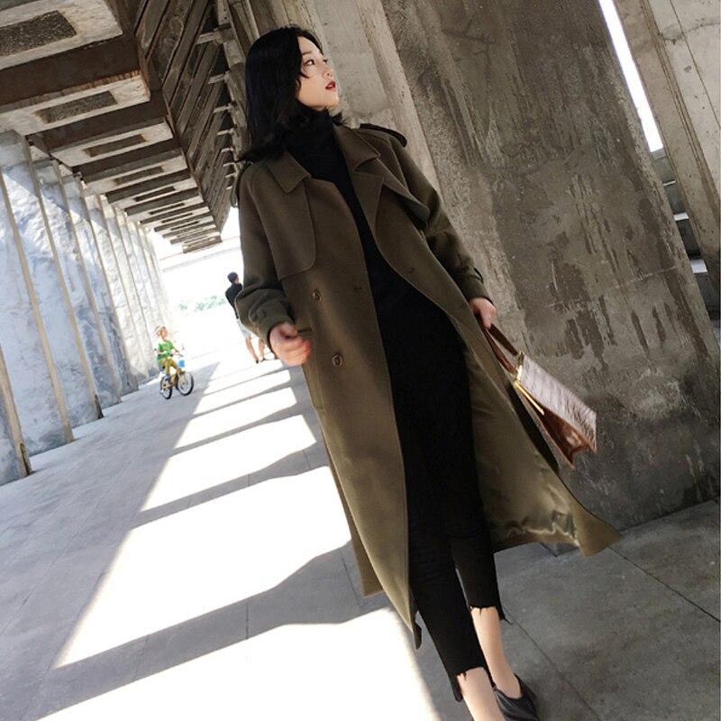 Manches armygreen La Brown Trench 1762 Casual Automne Taille Manteaux black Nouvelles Pour Long Longues vent Plus À Coupe Coat De Femmes Manteau Parc Dames Zqxpg
