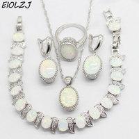 Fashion Stamp 925 Silver Wedding Jewelry Sets for Women Trendy Artificial Australian Opal Earrings Set Bracelet Ring Necklace