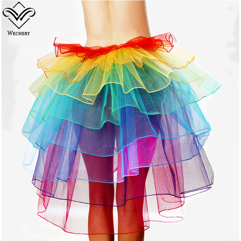 Wechery New Long Maxi Colorful Elastic Skirts Women Fluffy Tulle Skirt Ruffled Chiffon Lace Midi Gothic Corset Mesh Skirt Party