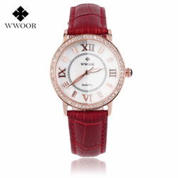 Wwoor crystal red leather women round quartz wrist watch relojes mujer ladies diamonds clock women dress.jpg 250x250