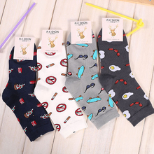 Korean Men Creative Socks Fashion Character Cartoon Print Casual Autumn Winter Cotton Socks