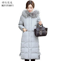 2017 Fashion Winter Women Long Jackets Elegant Lady Large Fur Collar Thick Warm Slim Cotton Down