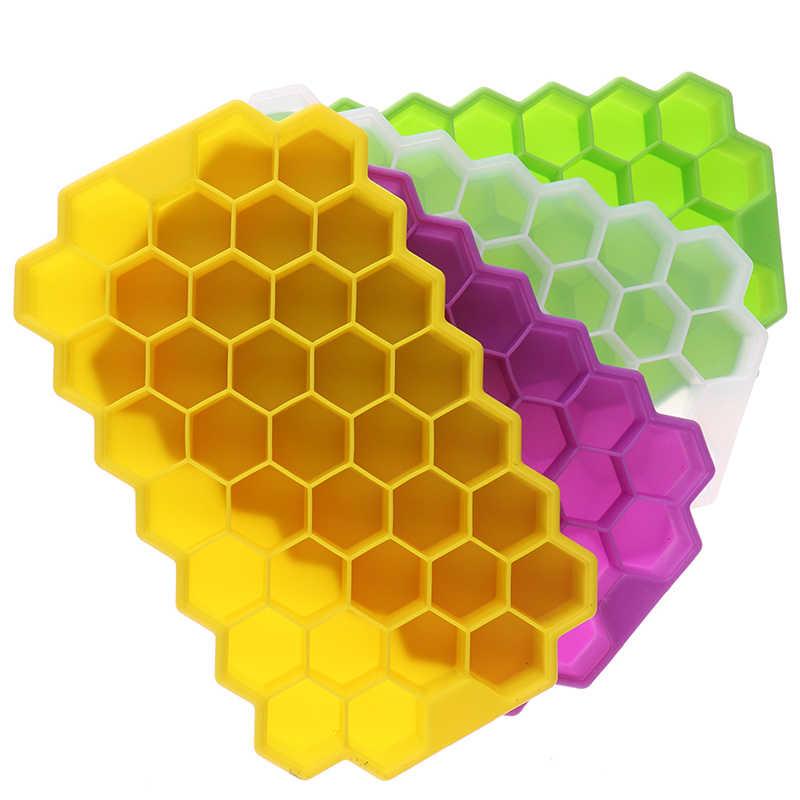 A nido d'ape Vassoio del Cubo di Ghiaccio 37 Cubi Cubo di Ghiaccio del Silicone Del Creatore Della Muffa Con Coperchio Per Ice Cream Partito Whisky Cocktail Freddo bere