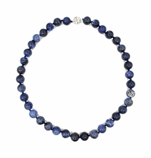 21e196deb91e LiiJi Natural piedra Natural azul sodalita 10mm perlas collar de moda  brillante Zircon broche imán 18