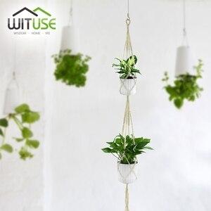 Image 4 - Barato! 2Pcs Plantas Decorativas Macrame Planta de Vaso Cesta Varanda Cabide gancho Da Parede para pendurar Corda Gancho Da Planta Pot Holder