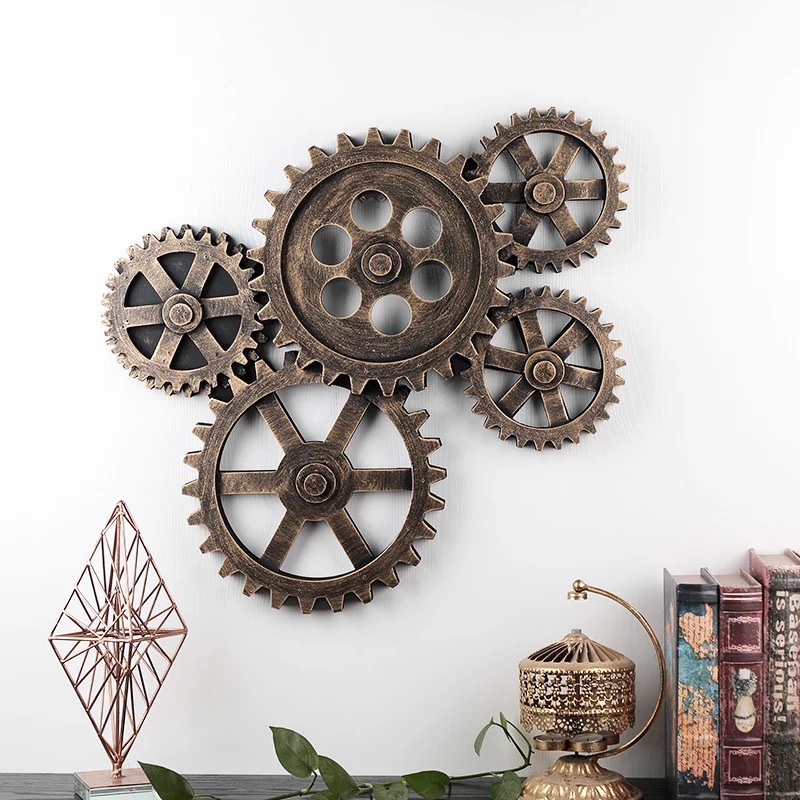 5PCS Wood Gear wall decoration Creative wooden arts and crafts Cafe bar Wall retro decoration Industry Ancient gear Home decor