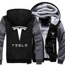 Осенне-зимнее пальто автомобиля Тесла логотип фланель утолщение теплые кофты Для мужчин хлопок Повседневное пальто Флисовые Толстовки Спортивная
