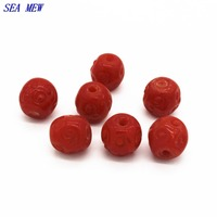 SEA MEW 20 PCS 13mm*13mm 14mm*19mm Red lampwork glass loose beads bodhi beads spacer bead barrel beads diy accessories 150bz