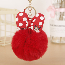 2019 New Mickey Bowknot With Rabbit Fur Ball For Car Keychain Bag Key Ring Jewel