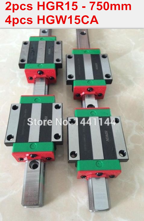 2pcs 100% original HIWIN rail HGR15 - 750mm rail  + 4pcs HGW15CA blocks for cnc router 2pcs hgr15 l1200mm 100