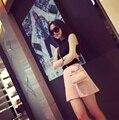 Primavera Verano Faldas de Las Mujeres de Moda de Corea Mujeres del Estilo Simple de Punto Delgado Falda Femenina Plisada Hem Faldas