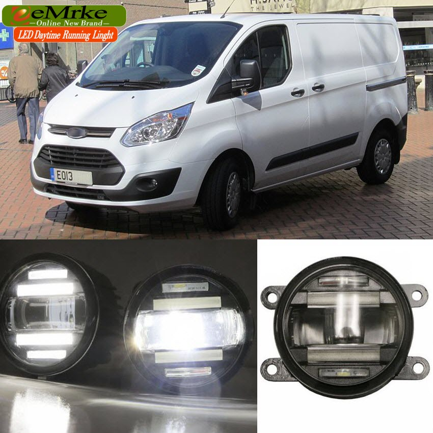 eeMrke Car Styling For Ford Transit 2006 -2015 2 in 1 LED Fog Light Lamp DRL With Lens Daytime Running Lights