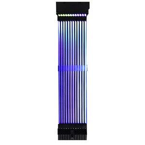 Image 2 - 24Pin + 8Pin ネオンライン 24 ピン電源 RGB PSU ライン PC マザーボード電源延長アダプタケーブル E ATX/ ATX/マイクロ ATX マザーボード