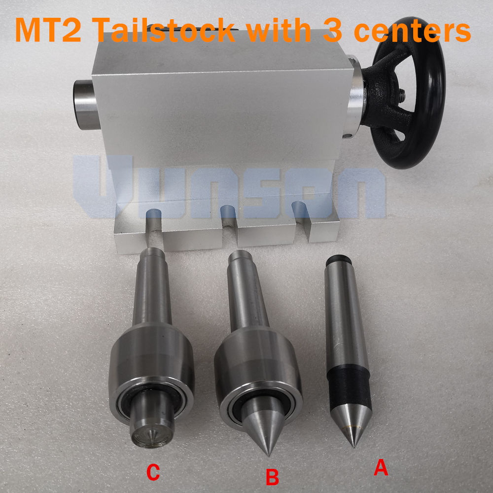 Removable and Replaceable Morse 2 Taper Shank Live Center Tailstock Kits including 3pcs centers for Desktop