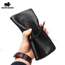 BISON DENIM Brand Men Genuine Leather Wallet With Zipper Pocket Long Clutch Wallet Coin Purse Money Cowskin Purse N4369(China)
