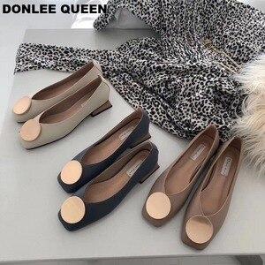 Image 3 - DONLEE QUEEN ผู้หญิงแฟลตรองเท้าไม้ LOW Heel Ballet สแควร์ตื้นหัวเข็มขัดยี่ห้อรองเท้า SLIP บน Loafers zapatos de mujer