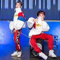 Edição coreana calças jaqueta solta jazz terno crianças hiphop dança roupas meninos meninas hip hop trajes crianças dança de rua outfit