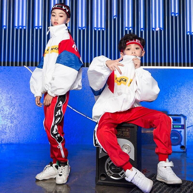a8c47fb20 Korean Edition Loose Jacket Pants Jazz Suit Children Hiphop Dance Clothes  Boys Girls Hip Hop Costumes Kids Street Dance Outfit