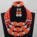 Nigeriano de Coral Perlas Joyería Fija Naranja/Rojo/Plata Collar de La Joyería Africana Sistemas de La Joyería Nupcial India Fija El Envío Libre CJ744