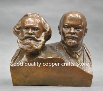 Great Communist Marx And Lenin Bust brass Statue