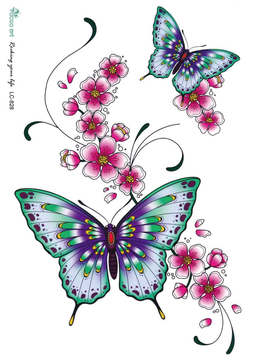 3d large temporary fake tattoo sticker bright color butterfly flower design chest face sexy. Black Bedroom Furniture Sets. Home Design Ideas