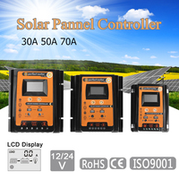 30A/50A/70A 12V/24V Solar Panel Battery Charge Controller PWM Intelligent LCD Display Solar Collector Regulator Dual USB Output