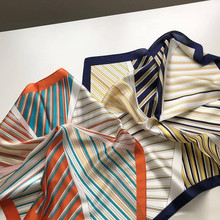 High-grade 100% Silk Plain Crepe Satin Small Square Scarf Geometric Stripe Scarves Printed Neckerchief Women Headscarf 53*53cm