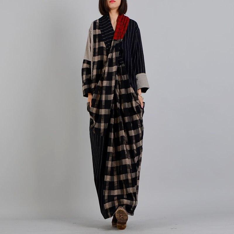 Kadın Giyim'ten Elbiseler'de Johnature Kadınlar Maxi Elbise Ekose Çizgili Elbise 2019 Bahar Vintage V Yaka Uzun Kollu Artı Boyutu kadın kıyafetleri Pamuk Keten Elbise'da  Grup 1