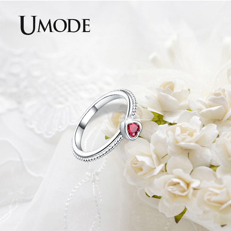 UMODE 2019 New Rose Red Zircon CZ Crystal Red Heart Rings for Women Fashion Heart White Gold Beads Jewelry Anillos Mujer AUR0507 in Rings from Jewelry Accessories