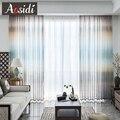 AOSIDI современные цветные льняные тюлевые шторы для гостиной  спальни  окна с радужным градиентом  полосатые прозрачные шторы  занавески  3D