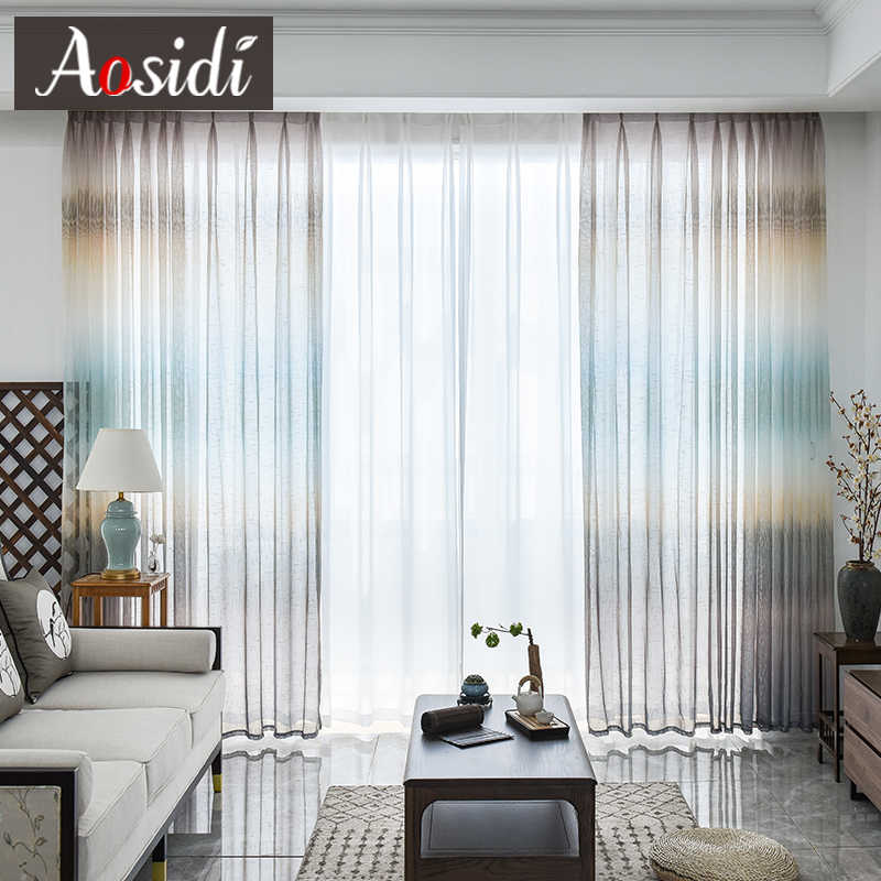 AOSIDI Modern Dream Color linen Tulle Curtains For Living Room Bedroom Window Rainbow Gradient Striped Sheer Curtains Drapes 3D