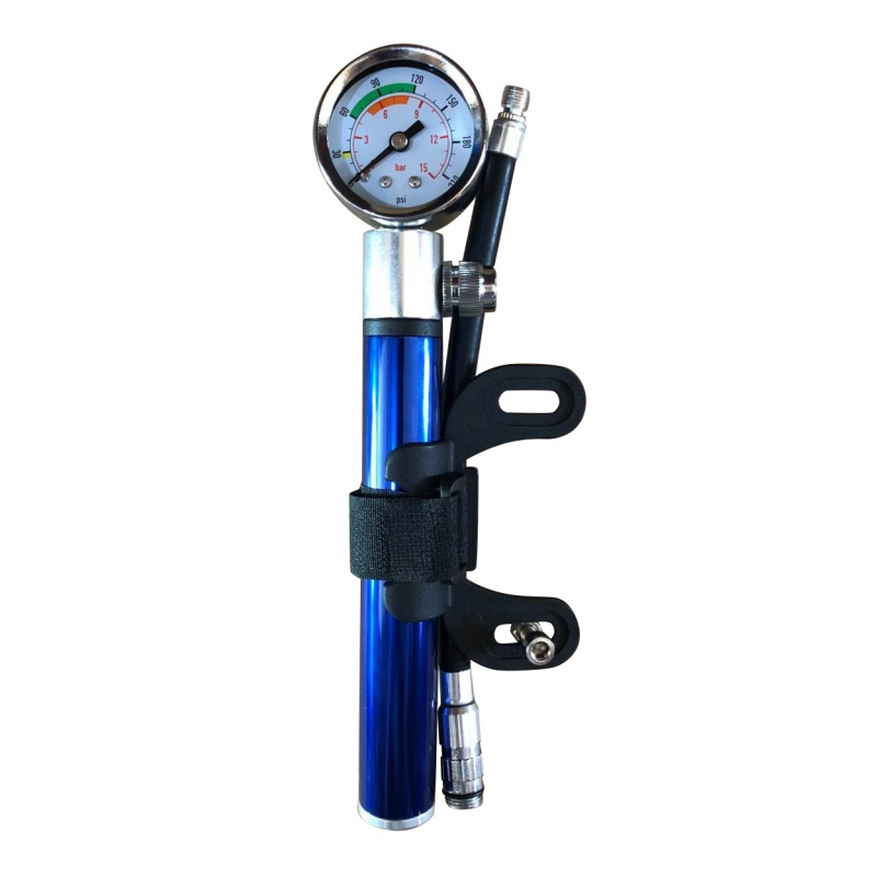 Mini Bicycle Pump With Pressure Gauge 210 PSI Portable Hand Cycling Pump Presta and Schrader Ball